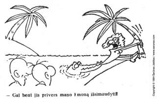 "Šarūno Jakšto karikatūra ""Krokodilas"" (1984 m.)"