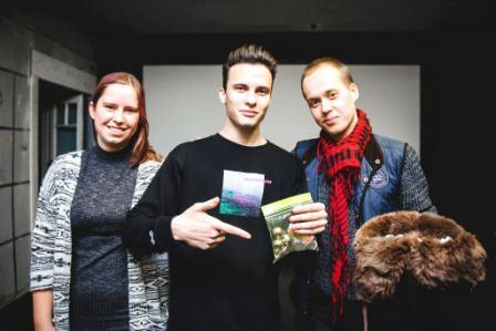Vytautas Oškinis Šoblės kino klube su Viktorija Akavickaite ir Jonu Parfinovu