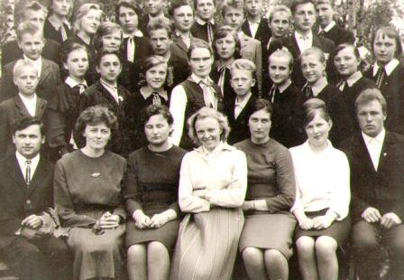 Kiauklių mokyklos mokytojai su mokiniais. Gražina sėdi antra iš kairės
