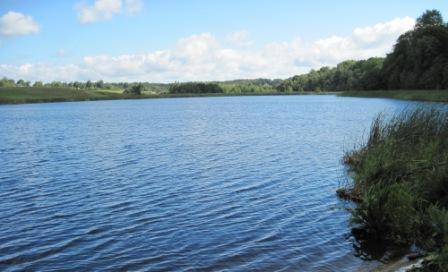 Bartkuškio ežeras. Tolumoje Skėterių kaimas